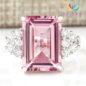Pink Emerald Cut Cubic Zircon White Gold Fill Ring